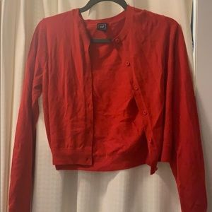 Red cropped cardigan never worn